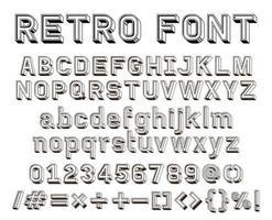 3d retro linha alfabeto fonte texto vetor