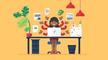 gerente de seo feminina africana feliz ocupada no trabalho vetor