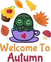 bem-vindo ao outono bonito design de adesivo sazonal vetor