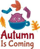 outono está chegando design de adesivo com desenho bonito vetor