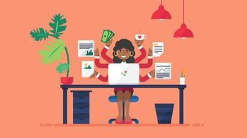 mulher de negócios negra multitarefa no local de trabalho vetor