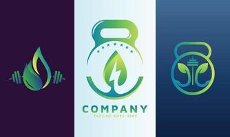 logotipo da energia com ícone de fitness vetor