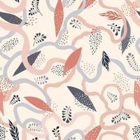 padrão floral abstrato sem costura deixa fundo desenhado artístico florescer cenário de jardim ornamental vetor