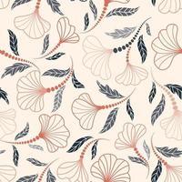 padrão floral sem costura flor artística fundo desenhado florescer jardim ornamental vetor