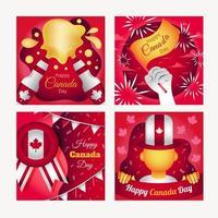conjunto de cartão do feliz dia do Canadá vetor