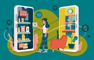 menina comprando produtos na loja online vetor