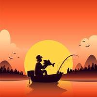 pesca de verão ao entardecer vetor