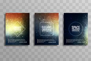 Galáxia abstrata universo vector brochura cartões vector set