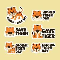 conjunto de adesivos do dia mundial do tigre vetor