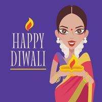 lâmpada de óleo diya de argila linda mulher indiana com festa de luzes vetor