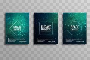 Conjunto de brochura de negócios colorido abstrato galáxia stylie vetor