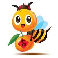 Desenho animado fofa abelha com tampa antiga carregando tangerina com dístico de caligrafia chinesa vetor