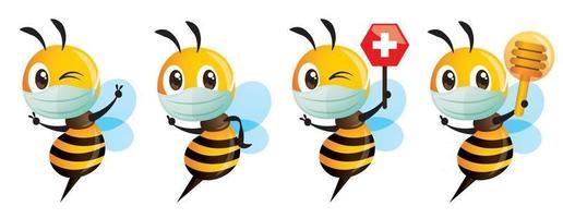 Abelha fofa com máscara facial segurando um conjunto de placa de favo de mel da cruz vermelha vetor