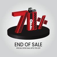 fim da oferta especial de venda até 70 de desconto ilustração vetorial vetor