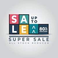 banner venda super venda colorido gradiente tags coleção modelo ilustração vetorial vetor
