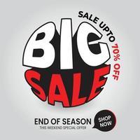 ilustração vetorial grande venda especial de até 70% super venda de fim de temporada vetor