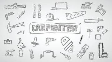 ícones de ferramentas de marcenaria desenhados à mão vetor