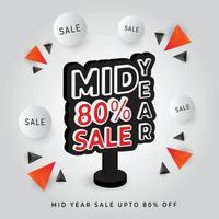 ilustração em vetor modelo de promoção de desconto de venda no meio do ano