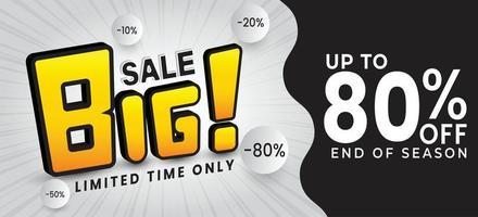 grande venda especial 80 desconto ilustração em vetor banner venda modelo design