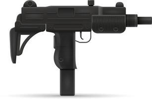 submetralhadora metralhadora mão arma ilustração vetorial de estoque isolada no fundo branco vetor