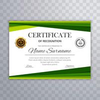 Certificado com vetor de elementos de design de onda verde