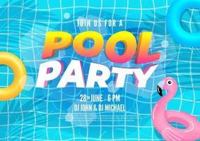 piscina de verão banner convite para festa piscina com folhas de palmeira e flutuadores de piscina vetor