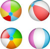 conjunto de bolas de praia coloridas vetor