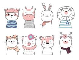 definir personagem de desenho animado, os adoráveis animais bebês vetor