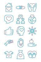 pacote de ícones de caridade e solidariedade vetor
