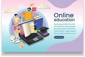 menina aprendendo arte on-line aula on-line eaducation on-line design de site vetor