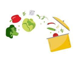 panela amarela com vários vegetais cozinhando uma sopa comida caseira saudável vetor