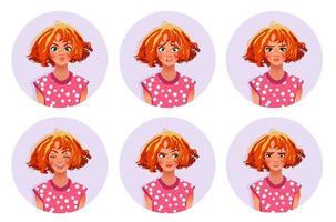 mulher expressões faciais linda garota com várias emoções ilustração vetorial plana seis faces emocionais para adesivos no design de personagem de desenho animado isolado no fundo branco vetor