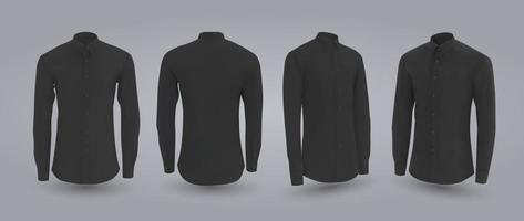camisa masculina preta com mangas compridas e curtas e botões na frente, costas e vista lateral isolada em um fundo cinza ilustração vetorial realista 3D padrão camisa formal ou casual vetor