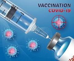 banner vacinação contra coronavírus covid 19 ampolas frascos de vacina seringa com injeção ilustração vetorial realista em 3D vetor