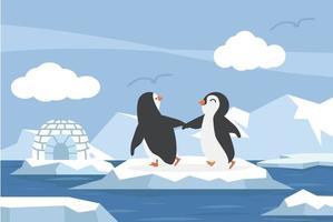 pólo norte ártico no oceano com um casal de pinguins vetor