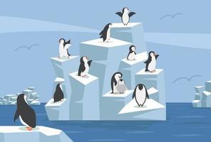 pólo norte ártico com grupo de pinguins vetor