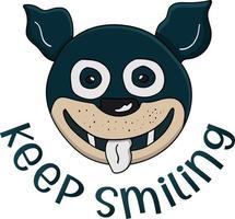 continue sorrindo com uma cara de cachorro perfeita para o projeto de design vetor
