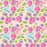 imagem de fundo de decoração natural de pássaros de flores fofas vetor