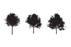 silhueta da árvore definir vetor livre