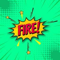 Vetor de fundo verde de quadrinhos de fogo