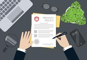 mãos do empresário assinando e carimbadas no documento do formulário de política de privacidade vetor