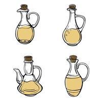 um conjunto desenhado à mão de garrafas de azeite isoladas em um fundo branco. jarras de azeitona. azeite virgem extra. estilo vintage. ilustração vetorial no estilo doodle vetor