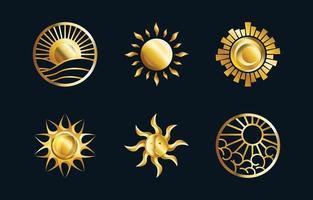 coleção do logotipo do sol abstrato dourado vetor