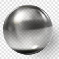esfera de vidro preto realista esfera preta transparente vetor