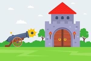 atacando um castelo inimigo atire o canhão na fortaleza ilustração vetorial plana vetor