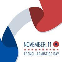 Resumo da França, acenando a celebração do dia do armistício de bandeira vetor