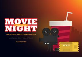 Cartaz de festa de noite de cinema ou modelo da Web vetor
