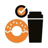 ícone de silhueta de refrigerante e donut vetor