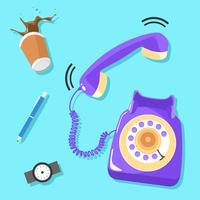 Vetor de telefone rotativo roxo de toque