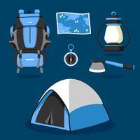 Suprimentos de acampamento Knolling Vector Set